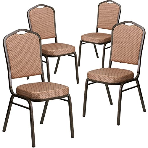 - Flash Furniture 4 Pk. HERCULES Series Crown Back Stacking Banquet Chair in Gold Diamond Patterned Fabric - Gold Vein Frame