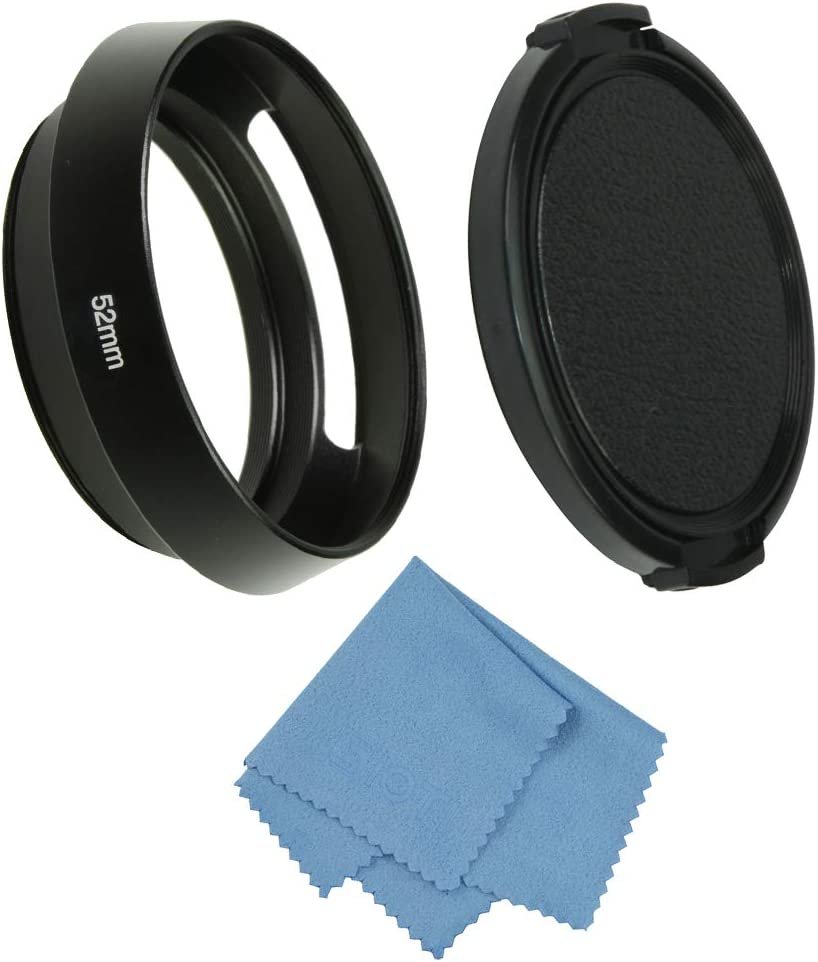 SIOTI Camera Standard Hollow Vented Metal Lens Hood with Cleaning Cloth and Lens Cap Compatible with Leica/Fuji/Nikon/Canon/Samsung Standard Thread Lens