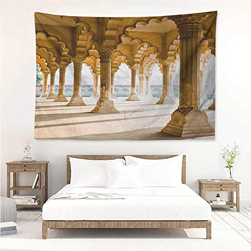 Pillar,Wall Decor Tapestry Historical Theme Gallery of Pillars at Agra Fort Ethnic Digital Image 93W x 70L Inch Tapestry Wallpaper Home Decor Pale Coffee and Beige