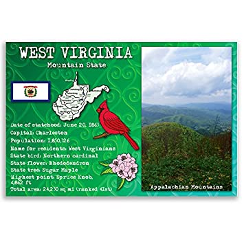 Amazon West Virginia State Facts Postcard Set Of 20 Identical