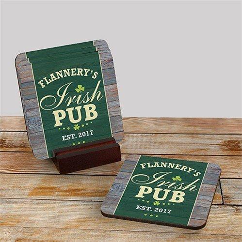 Personalized Irish Pub Coaster Set of 4, Mahogany Holder Included