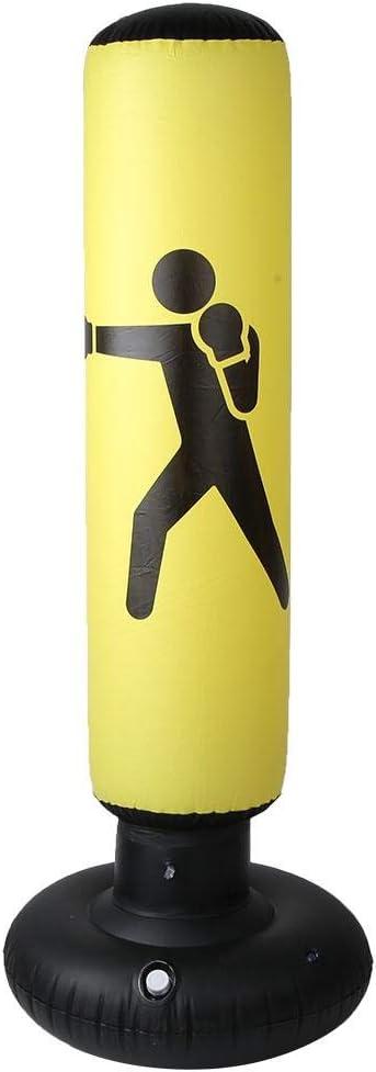 Yellow MAGT Boxing Punching Bag Inflatable PVC 160cm Fitness Hit Sandbag Adults Children Inflatable Column Tumbler Punching Bag Training Fitness