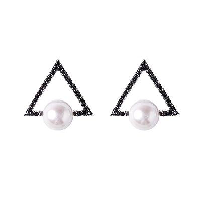 aretes aretes aretes aretes plata de ley 925 triángulo perla moda personalidad temperamento femenino: Salud y cuidado personal