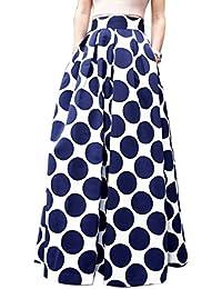 Choies Women's White Contrast Polka Dot Print Maxi Skirt
