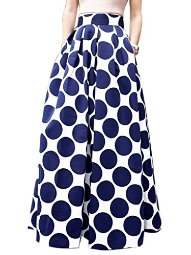 CHOiES record your inspired fashion Women's White Contrast Polka Dot Print Maxi Skirt ()