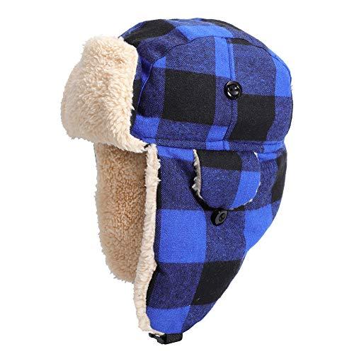 Flammi Kids Winter Ushanka Russian Earflap Hat Trapper Hat (Blue Plaid, 2-6 Years)