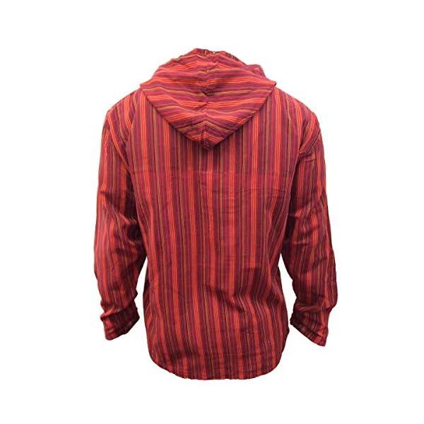 shopoholic FASHION Multicolore dharke righe a serafino Felpa con cappuccio Camicia, leggero