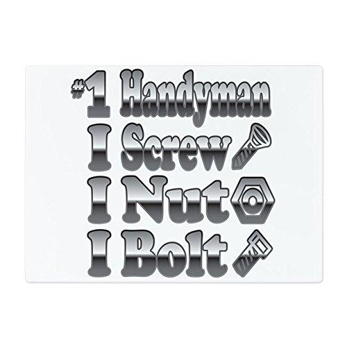 Glass Cutting Board Large Number 1 Handyman I Screw Nut Bolt by Royal Lion