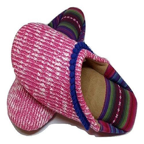 Dearfoams Women's Summer Knit Closed Toe Scuff (Large/9-10 B(M) US, Wild Rose)
