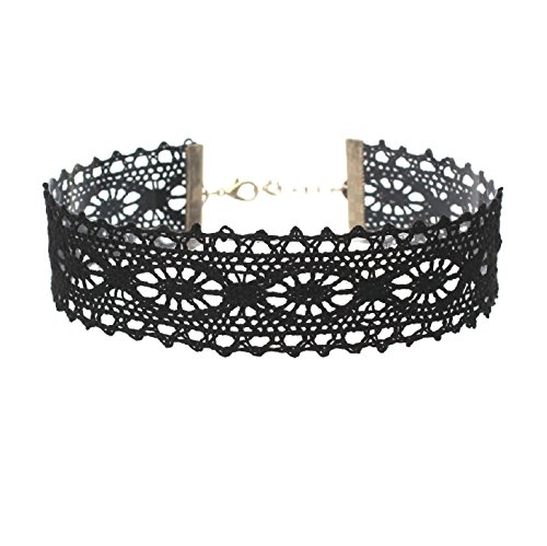 Rosemarie Collections Women's Beautiful Gothic Black Lace Choker Necklace]()