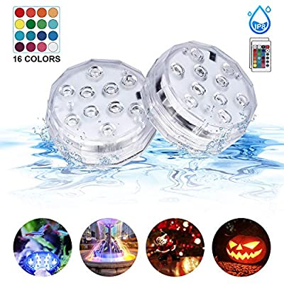 Sunvook Submersible Led Lights with Remote Control IP68 Waterproof Underwater Led Lights Multi-Color Battery Operated Fountain, Pond Pool, Aquarium, Vase, Hot Tub, Bathtub, Fish Tank Lights(2Pack)