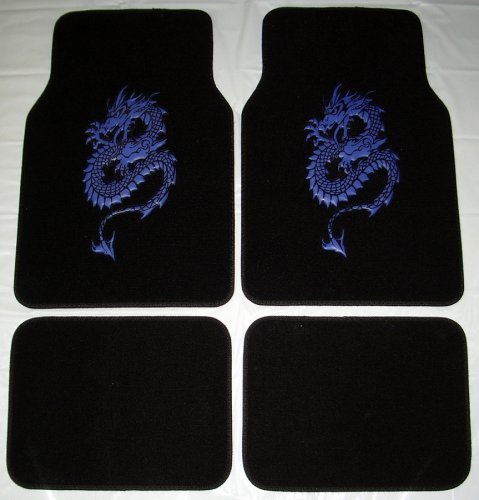 (Dragon Blue Front & Rear Carpet Car Truck SUV Floor Mats)