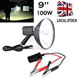 Light up to 1500 meters 8000 Lume 12V 100W HID 9 Inch 240mm Handheld Camping Hunting Fishing Super Strong Light Spotlight Off Road with a Free Battery conversion clip