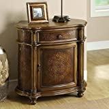 Monarch Specialties Traditional 1-Drawer Bombay Cabinet, Light Brown