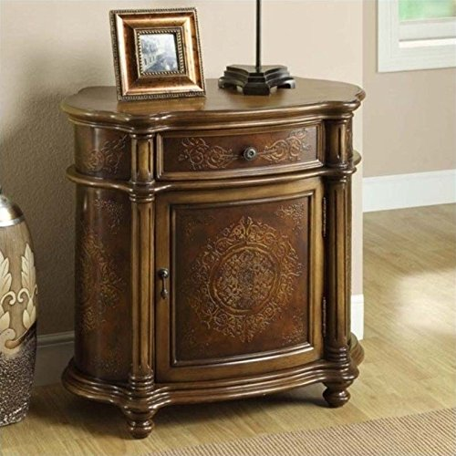 Monarch Specialties Traditional 1-Drawer Bombay Cabinet, Light Brown by Monarch Specialties