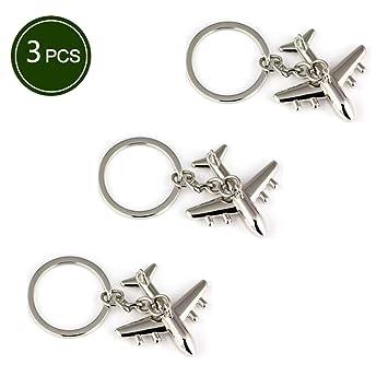 Amazon.com: Llavero de 3 piezas de metal para avión, modelo ...