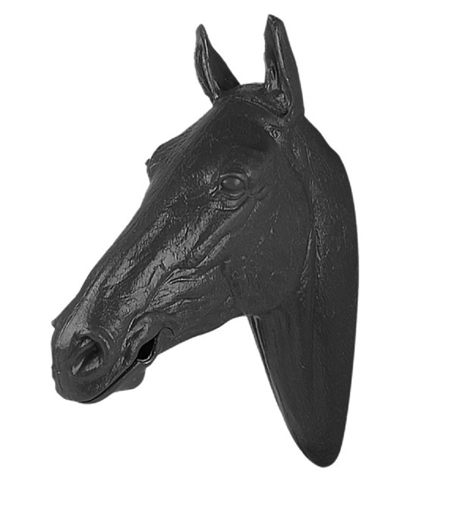 Life Sized Molded Plastic Display Horse Head Mouth Opens for Bit and Bridle Display (Black)