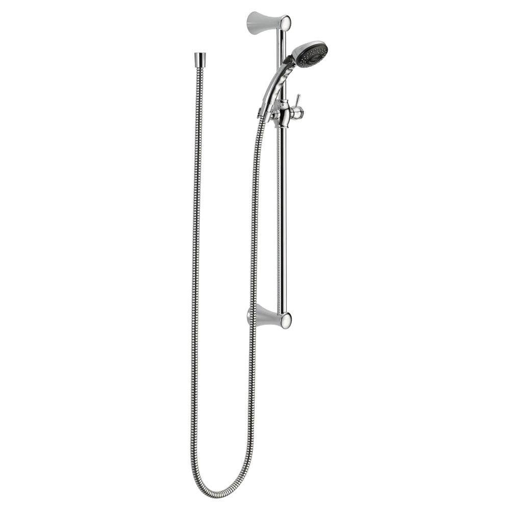 Delta Faucet 2-Spray Slide Bar Hand Held Shower with Hose Chrome 57011