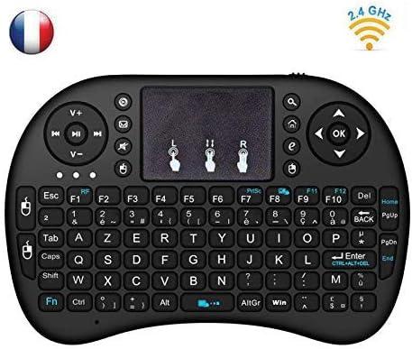 BASKER 2.4GHz Mini i8 Wireless Keyboard (AZERTY) sans Fil Air Souris Clavier Mini Clavier sans Fil avec Touchpad Télécommande pour Smart TV, Mini PC, HTPC, Console