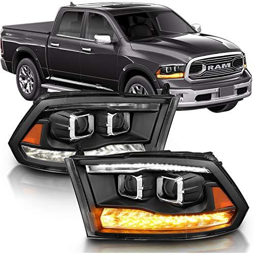 AmeriLite Black Dual Projector Headlights Switchblade LED DRL Parking Turn Signal for Dodge Ram 1500 2500 3500- Passenger and Driver Side