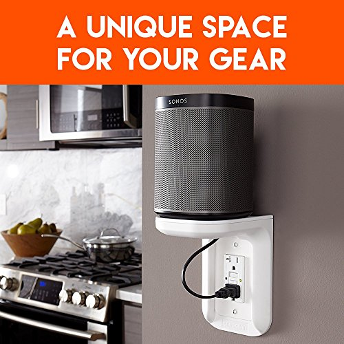 ECHOGEAR Outlet Shelf – A Space-Saving Solution for Anything Up to 10lbs – Built-in Cable Channel - Easy Install with Hardware Included - Ideal for Sonos and Smart Home Speakers - EGOS1