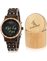 Women Wooden Watches Luxury Wood Metal Strap Chronograph & Date Display Quartz Watch Fashion Zebra Wood Casual...