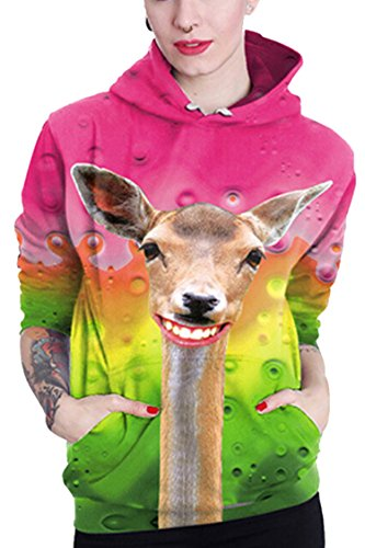 lacostew-womens-animal-deer-patterns-print-drawstring-hoodie-sweatshirt-pink-xl