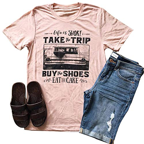 Women Life is Short Take The Trip Letter Print T-Shirt Short Sleeve Funny Graphic Tees Tops Pink
