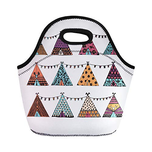 (Semtomn Neoprene Lunch Tote Bag Caravan Tepee Garland in Boho Wigwam Festival Gipsy Teepee Reusable Cooler Bags Insulated Thermal Picnic Handbag for Travel,School,Outdoors,)