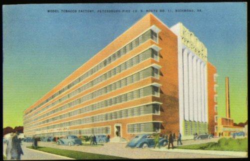 (Model Tobacco Factory Richmond VA postcard 1948)