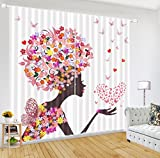 LB African Decor Curtains,2 Panels Room Darkening Blackout Curtains,African Girl and Butterfly 3D Effect Print Window Treatment Living Room Bedroom Window Drapes,104 x 96 Inches
