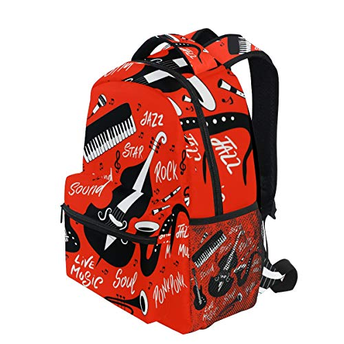 KVMV Piano Trumpet Cymbals Guitar Cello and Saxophone-1297372366 Lightweight School Backpack Students College Bag Travel Hiking Camping Bags