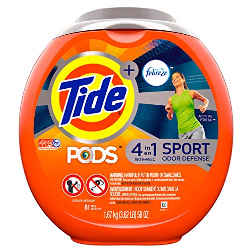 Tide PODS Laundry Detergent Liquid Pacs Plus Febreze Sport Odor Defense, Active Fresh Scent,  4 in 1 HE Turbo, 61 Count Tub (Packaging May Vary) (1 Laundry A)