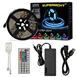 led strip rv - SUPERNIGHT 16.4Ft 5050 Waterproof 300leds Light Strip,RGB Color Changing Kit Adhesive Tape with 44 Key Remote Control and 12V DC 5A Power Supply