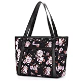 Womens Laptop Bag, BRINCH Classic Nylon Zip Work Tote Bag Shopping Duffel Bag