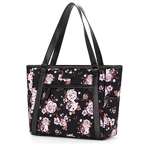 Womens Laptop Bag, BRINCH Classic Nylon Zip Work Tote Bag Shopping Duffel Bag Carry Travel Business Briefcase Shoulder Handbag for Up to 15.6 Inch Laptop/Notebook / MacBook/Tablet,Rose ()