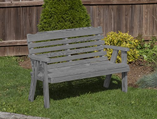 (Amish Heavy Duty 800 Lb Classic Park Style Pressure Treated Garden Bench-4 Feet-GREY-Made in USA)