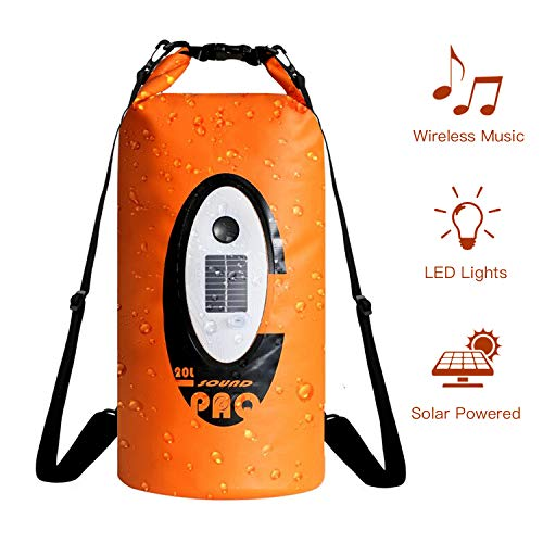 ztarx Floating Waterproof Dry Bag 20L with Wireless Speaker & Emergency LED Lighting, Solar/USB Powered Roll Top Dry Bag, Provides Music for Outdoor Rafting, Boating, Camping, Hiking and Fishing