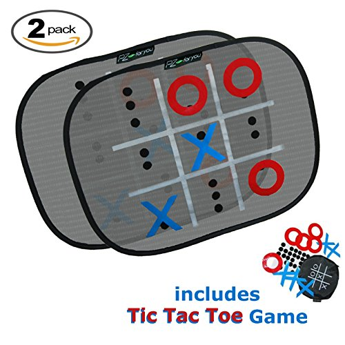 Protect Kids from Harmful UV Rays w/Added Travel Game! Sunshade w/ Built In Tic Tac Toe to Keep Kids Happy on Long Rides. Set of 2 (14 x 17 Inches). Maximum Shade By PZ-For You (Added Toe Protection)