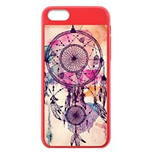 Generic New Unique Individual Custom Various Painted Pattern Colorful Dream Catcher Plastic Yellow and Salmon Cover Case for iPhone5C