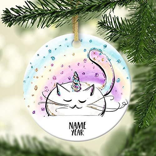 - Caticorn Personalized Ornament Unicat Ceramic Porcelain Holiday Ornament Christmas Rainbow Custom Ornament Unicorn Cat Christmas Ornament