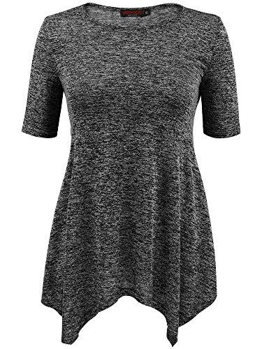 VESSOS Damen Tunika Top Kurzarm Shirt 4 Farben zur Wahl