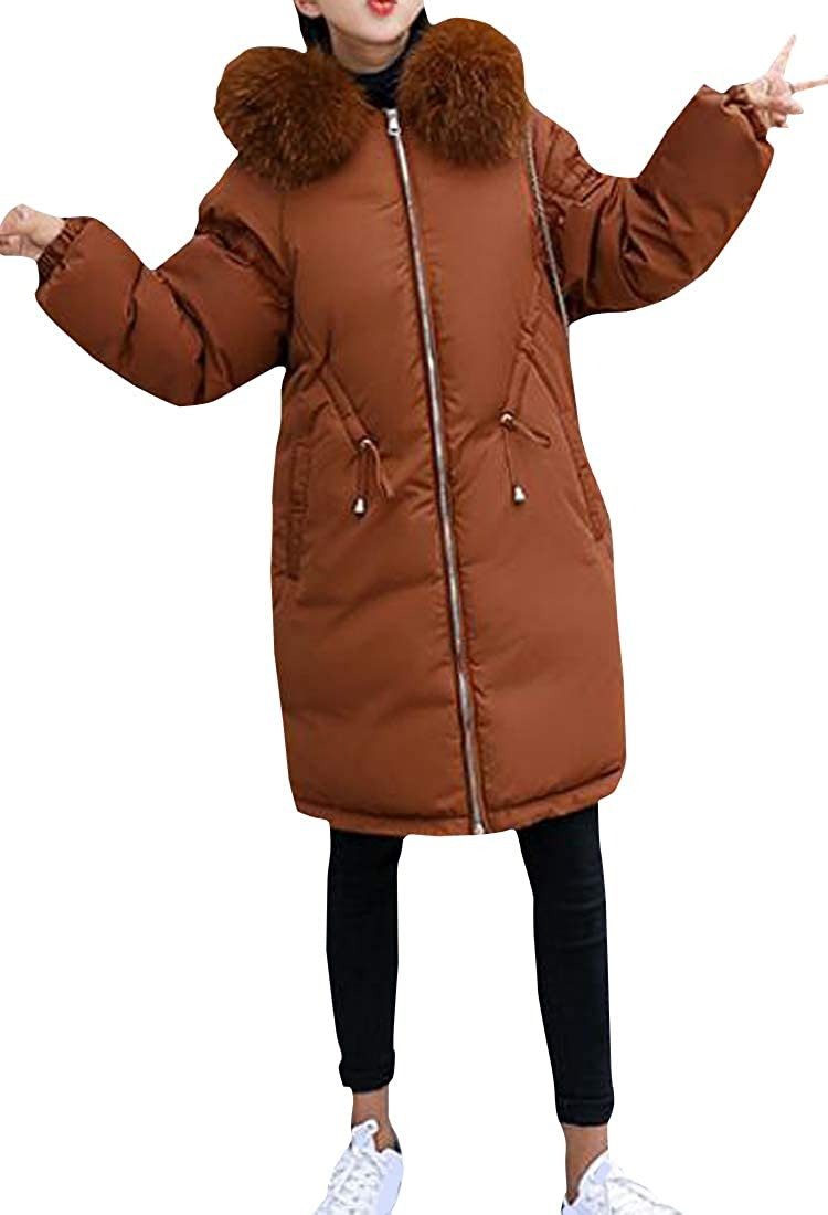 Cromoncent Women Winter Hooded Faux Fur Collar Quilted Warm Outerwear Parkas Coats