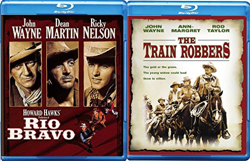 John Wayne Western Movie Pack Train Robbers + Rio Bravo Western Action Pack Set Classic Blu Ray Bundle
