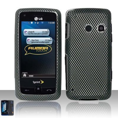 (Carbon Fiber Design Rubber Touch Phone Protector Hard Cover Case for LG Rumor Touch)