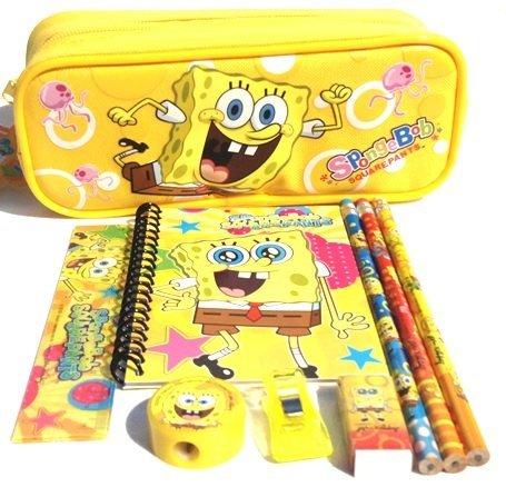 Spongebob Pencil Case and Stationary Set -Gift Set for Boys (School Supplies Spongebob)