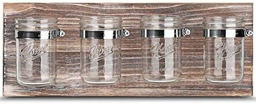 Amazon Com Mason Jar Organizer Office Farmhouse Bathroom Kitchen Storage Mason Jar Wall Decor Planter Caddy Organizer With Brown Holder