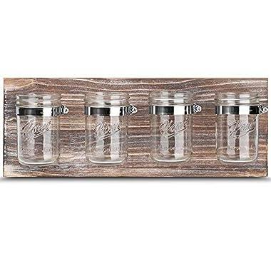 Mason Jar Organizer, Office Farmhouse Bathroom Kitchen Storage, Mason Jar Wall Decor Planter Caddy Organizer with Brown Holder