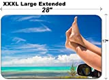 MSD Large Table Mat Non-Slip Natural Rubber Desk Pads Image 28409556 Female Feet from The Window of a car on a Background of Tropical Beach
