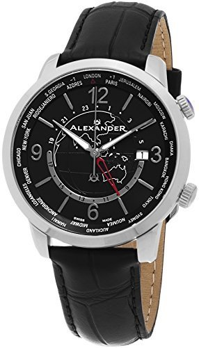 06794a40da4 Alexander Heroic Journeyman Worldtimer Wrist Watch For Men - Black Leather  Stainless Steel Analog Swiss Watch